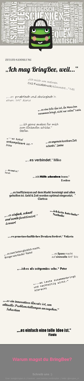 """""""Ich mag BringBee, weil"""" - Zitatesammlung"""